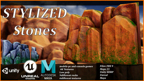 Stylized Stones-Low poly