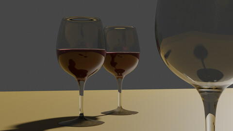 Glass Wine low poly 3D model