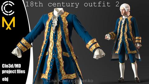 18th century outfit 2. Marvelous Designer/Clo3d project + OBJ.