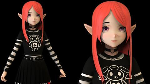 Anime Girl Low Poly Character 2