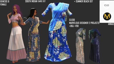 GENESIS 8 FEMALE: SOUTH INDIAN SAREE SET + SUMMER BEACH SET (Extended Commercial License): CLO3D, MARVELOUS DESIGNER PROJECT| +OBJ +FBX