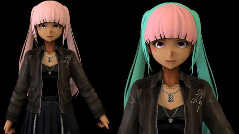 Anime Girl Low Poly Character 3