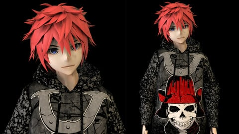 Anime Boy Low Poly Character 5