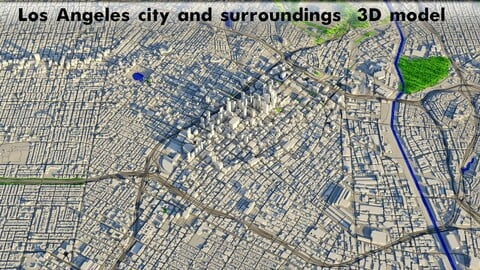 Los Angeles - city and surroundings Low-poly 3D model