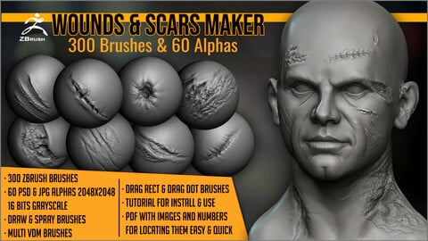 Wounds and Scars Maker: 300 ZBrush Brushes And 60 Alphas