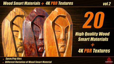 20 High Quality Wood Smart Material Bundle + 4k PBR Textures_VOL.02