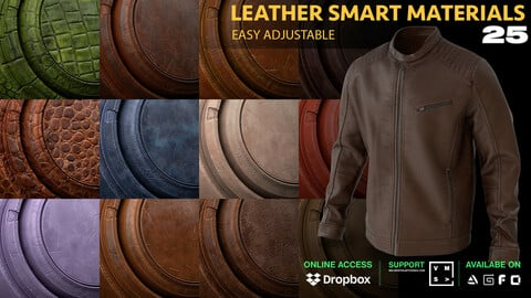 25 LEATHER SMART MATERIALS [SUBSTANCE PAINTER]