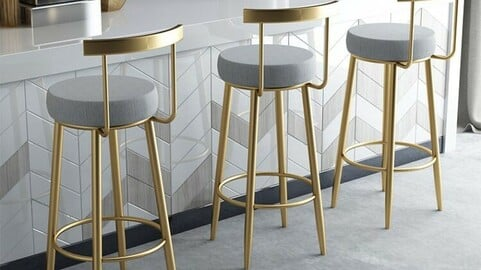 Gold Frame Bar Chair Island Dining Table Chair