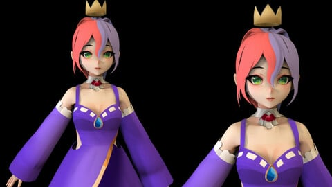 Anime Girl Low Poly Character 6