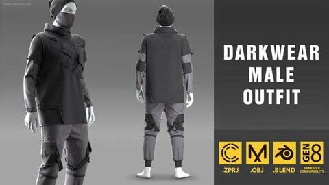 Darkwear male outfit. MD/CLO3D PROJECT FILE + OBJ + BLEND