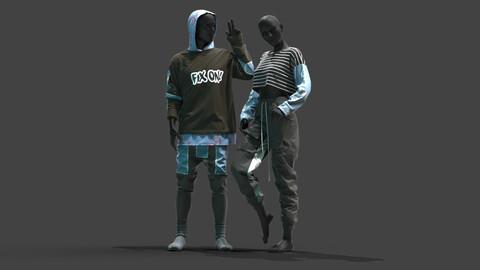 Male & Female Outfits . Clo3D , Marvelous Designer .