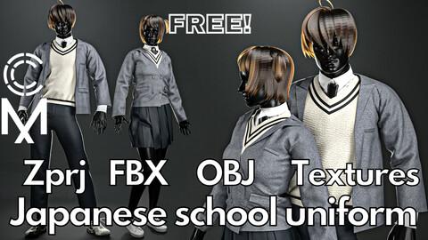 Marvelous Designer + Clo3d + OBJ + FBX + Texture : School uniform