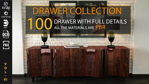DRAWER COLLECTION: 100 Drawer With Full Detail + PBR Texturing