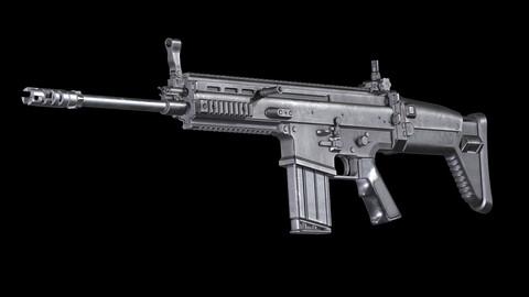 FN SCAR 17S PBR Worn Low-poly 3D model