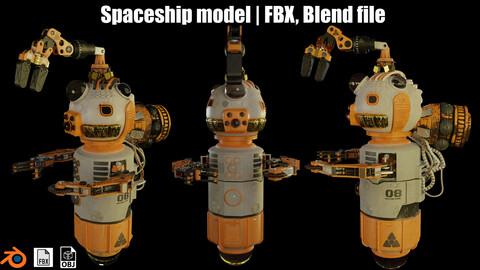 Textured Highpoly Spaceship model  | FBX, Blend file