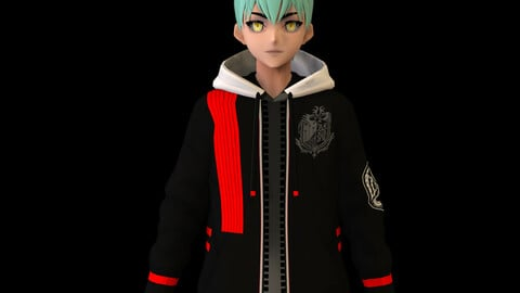 Anime Boy Low Poly Character 14
