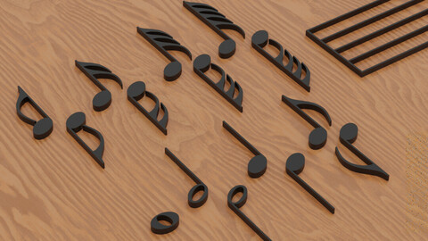 Musical Notes 1 Low-poly 3D model
