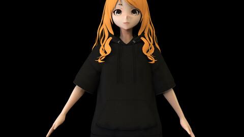 Anime Girl Low Poly Character 18