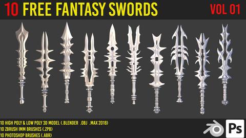 10 free fantasy swords 3d model + zbrush brushes + photoshop brushes  _ vol 01