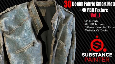 30  Denim Fabric Smart Material + 4K PBR Texture Vol_1