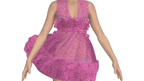pink Pleated short dress in marvelous designer