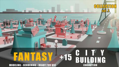 fantasy building collection cartoon city