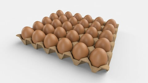 Eggs Carton Package Low Poly