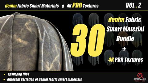30 Denim Fabric Smart Material Bundle + 4K PBR Texture_VOL_02