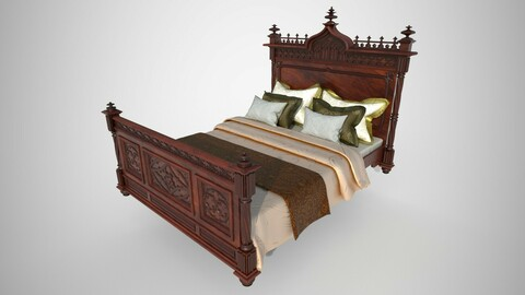 Decorated Victorian bed with linens