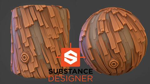 Stylized Wood Bark - Substance Designer