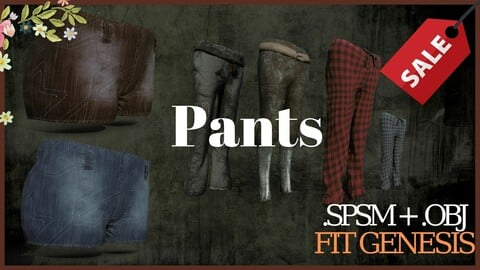 (4 Pants )Medieval and Fantasy collection Clothes Material , .SPSM + OBJ 4K Material