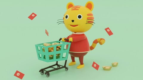 Chinese New Year shopping baby Tiger IP cartoon Tiger Q edition Cu