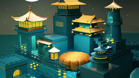 Chinese style archaize architecture cartoon Mid-Autumn Festival