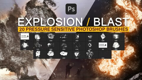 20 Explosion and blast effects, drawing and painting pressure sensitive photoshop brushes.