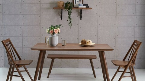 DOS solid wood dining table 4 seater bench set