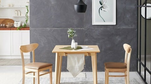Noble rubber wood solid wood modern Nordic dining table set for two