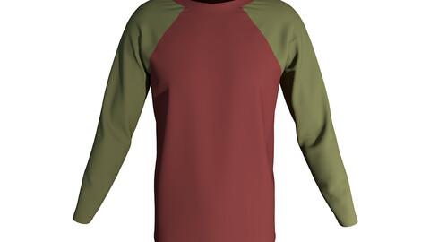 Raglan Sleeve Men's T-Shirt 3D Model