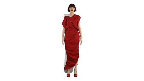 3D Red Dress