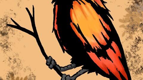 Orange bird large format