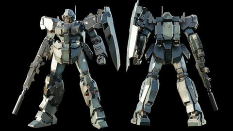 GUNDAM JESTA 3D model rigged with realistic texture