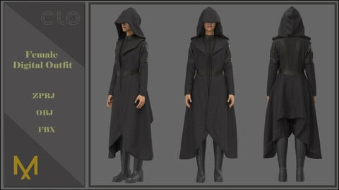 Female Outfit - Coat and Boots- Marvelous Designer and CLo3d Projects + OBJ+ FBX