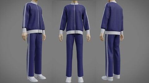3D Male Tracksuit - Striped Jacket Sweatshirt and Sweatpants