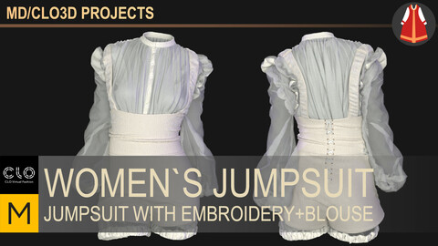 Women`s jumpsuit with embroidery and blouse