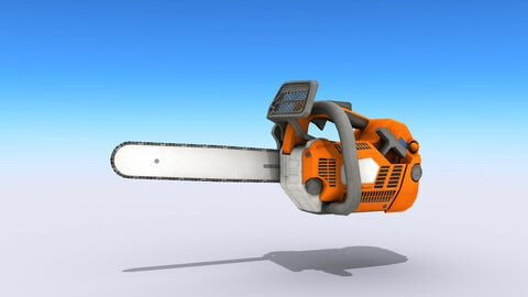 Petrol Chainsaw Low-poly 3D model
