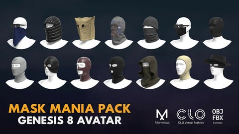 Mask mania pack. Marvelous / Clo 3D / Gen. 8 / zprj obj fbx