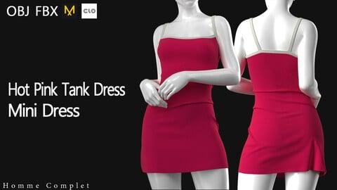 Women's Hot Pink Tank Dress
