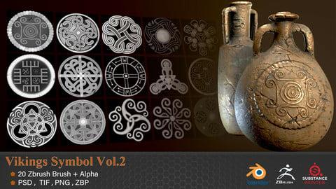 20 Viking Symbols Zbrush Brush + Alpha - VOL 02