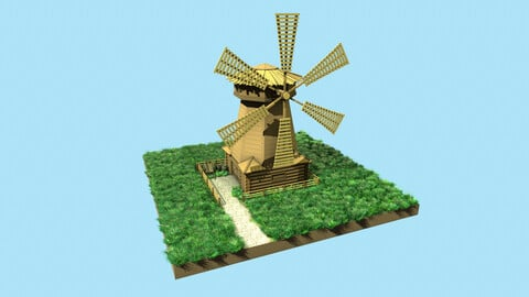 Low-poly windmill