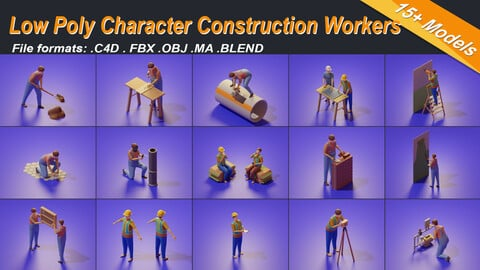 Low Poly 3D Stylized Character Construction Workers Isometric People Set