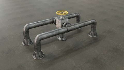 Sci-Fi Water Pump and Pipes